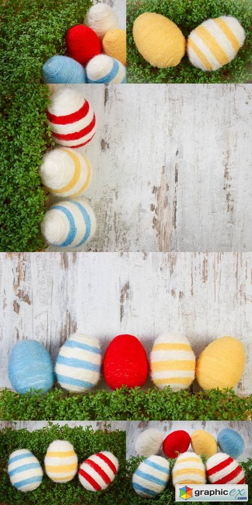 Easter Eggs Wrapped Woolen String, Decoration for Easter