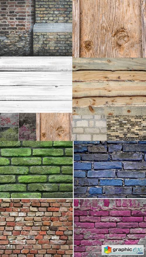 Wooden and Bricks Backgrounds