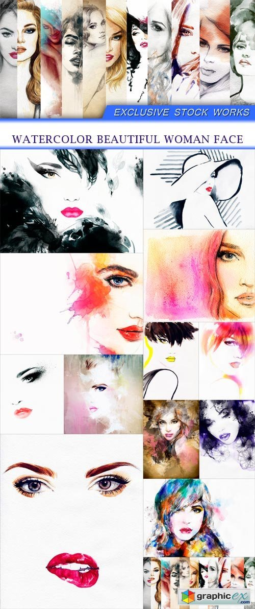 Watercolor beautiful woman face 13x JPEG
