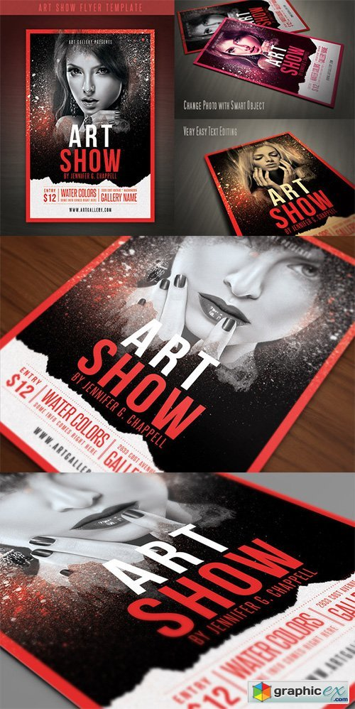 Art Show Flyer Template Free Download Vector Stock Image Photoshop