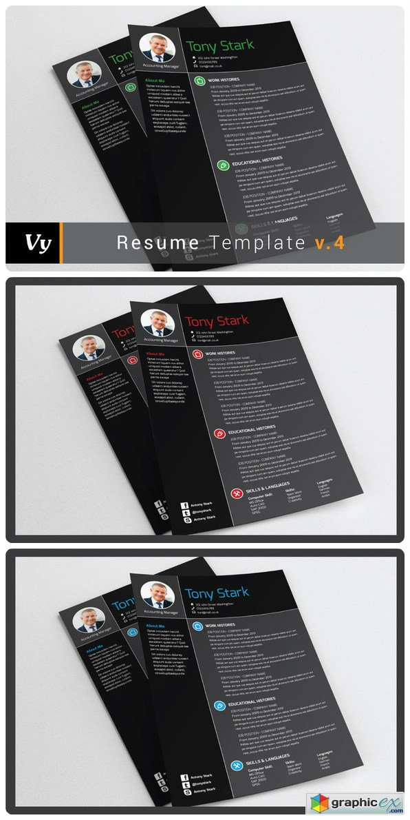 Resume Template V04 Free Download Vector Stock Image Photoshop Icon