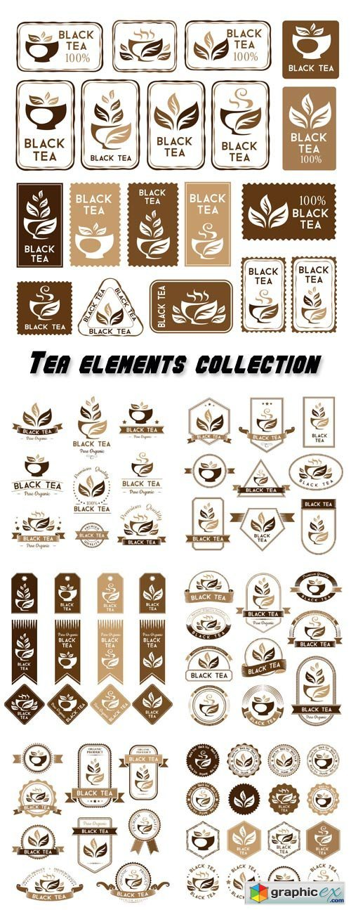 Tea, black tea package elements, stickers and banners collection