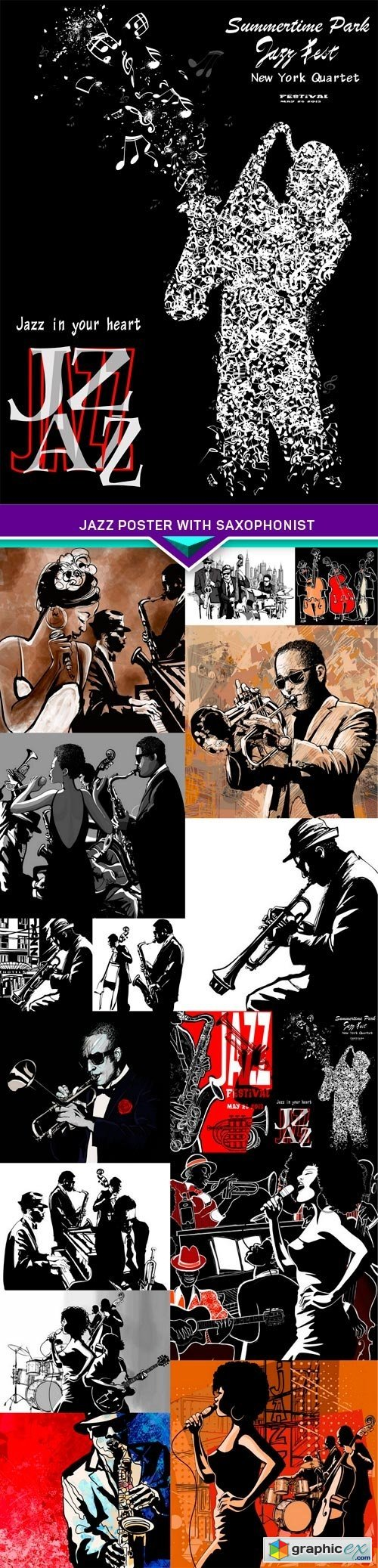 Jazz poster with saxophonist 16x EPS