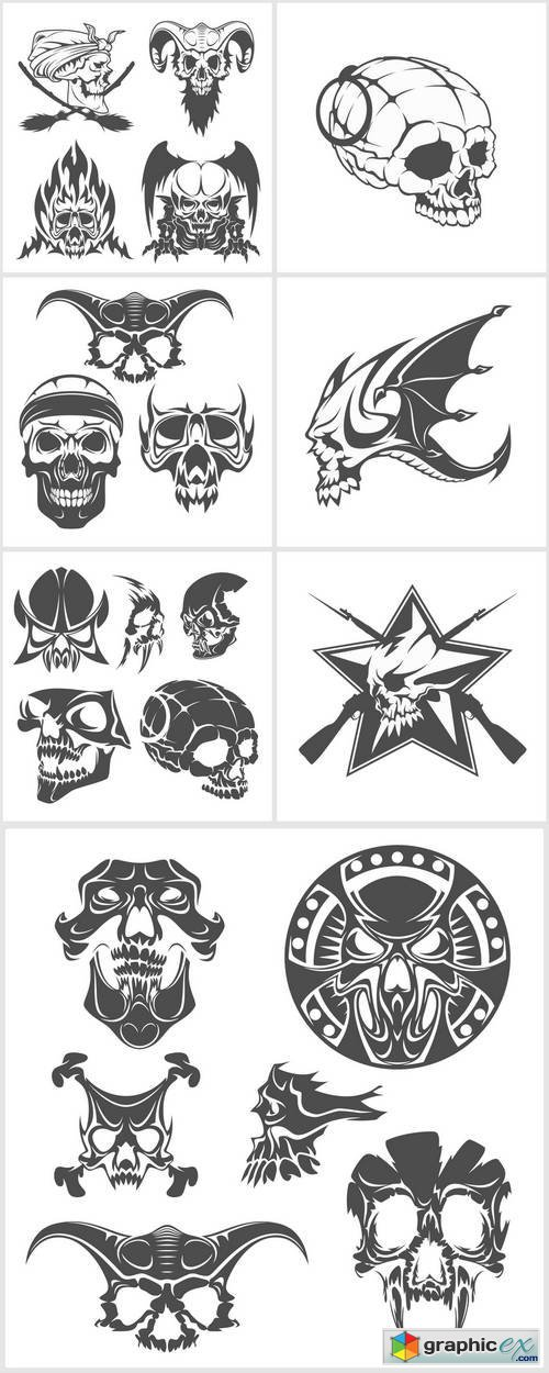 Set of Skulls for Tattoo Design