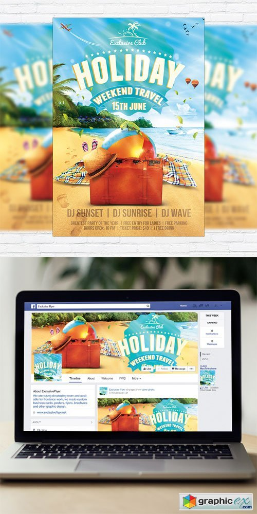 Summer Holiday Travel - Flyer Template + Facebook Cover