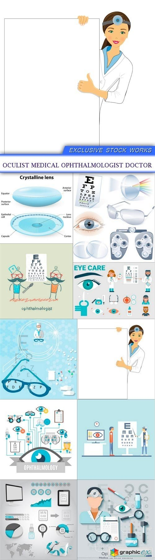Oculist medical ophthalmologist doctor 10X EPS