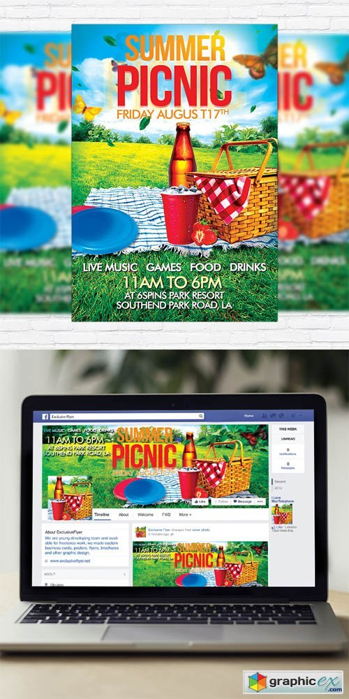 Summer Picnic - Flyer Template + Facebook Cover » Free Download
