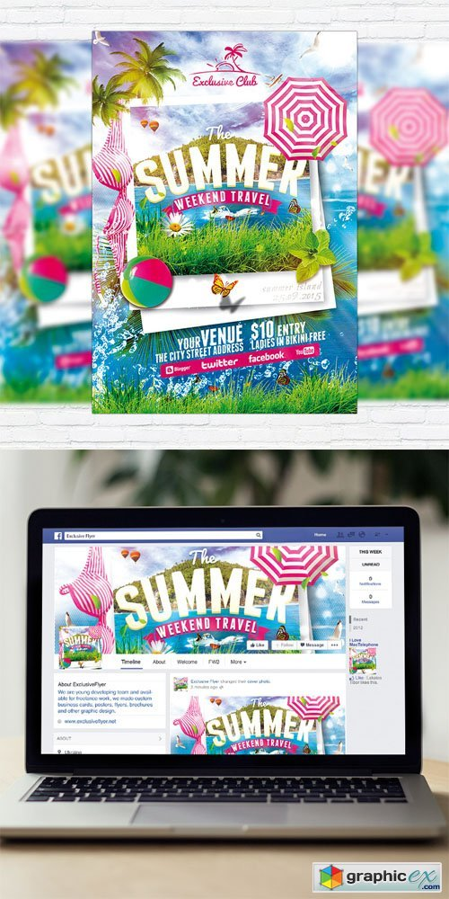 The Summer Weekend Travel - Flyer Template + Facebook Cover