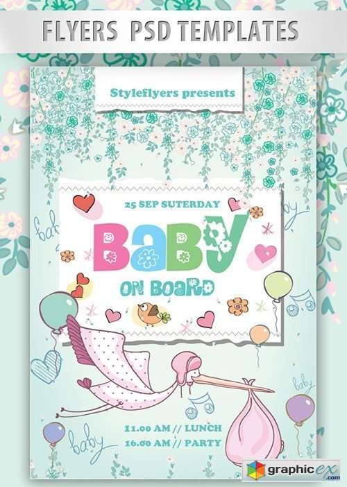 Baby on Board Flyer PSD Template + Facebook Cover » Free Download ...