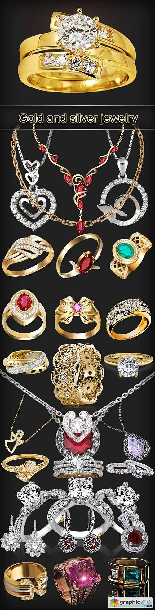 Various gold and silver jewelry PNG