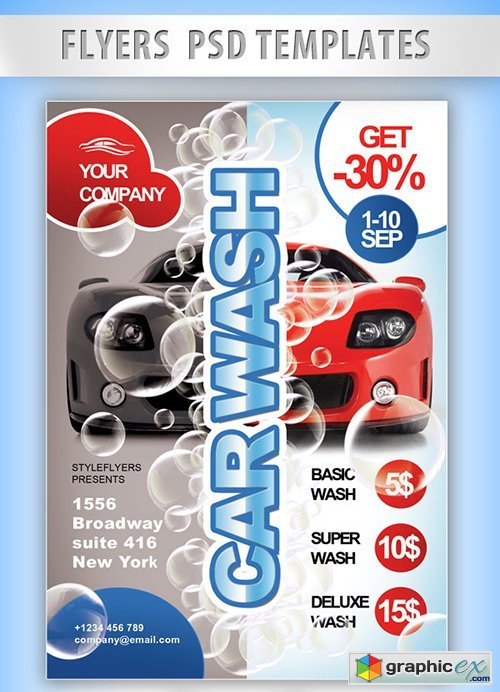Car Wash Flyer Psd Template Facebook Cover Free Download Vector