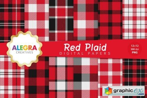 Red Plaid Digital Paper Pack