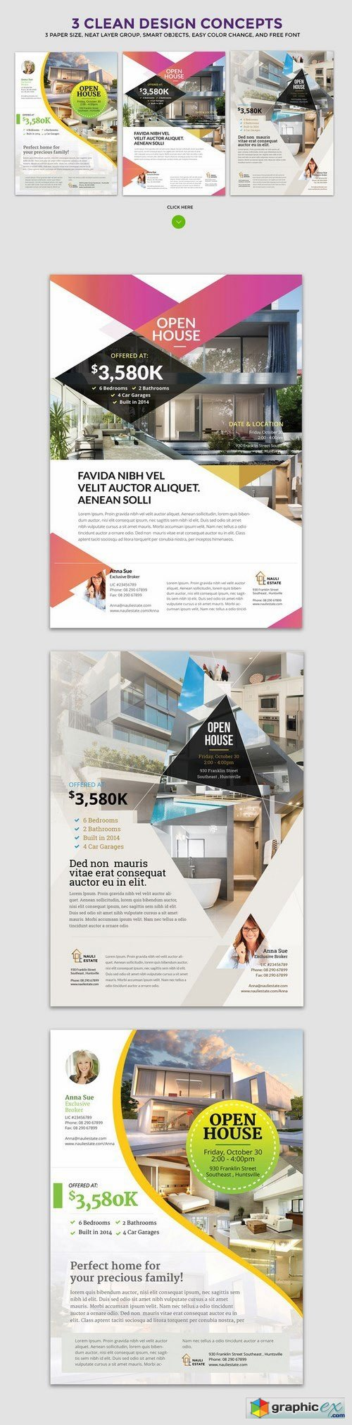 3 clean real estate flyer vol 3 vector stock image 3 clean real estate flyer vol 3
