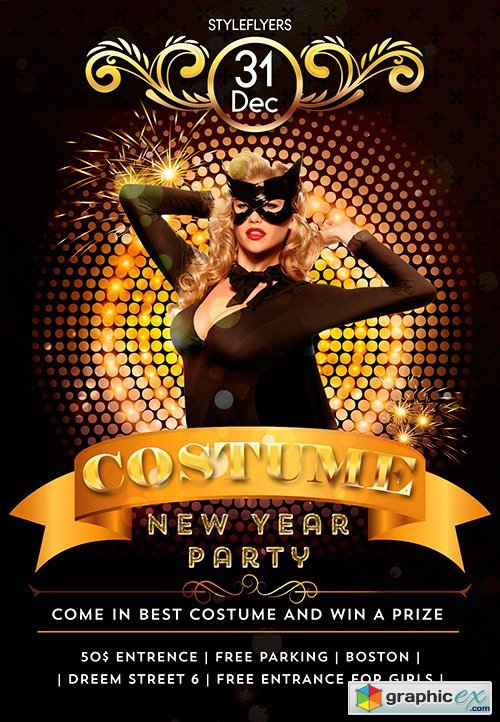 costume new year party psd flyer template facebook cover free download vector stock image