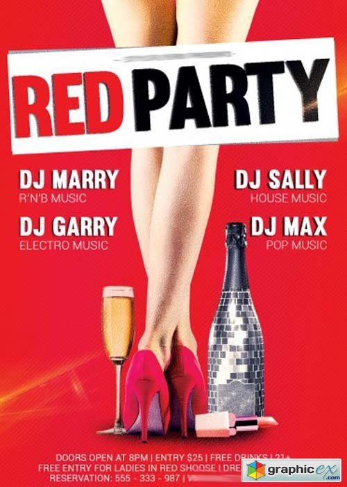 Red party V5 Flyer PSD Template + Facebook Cover