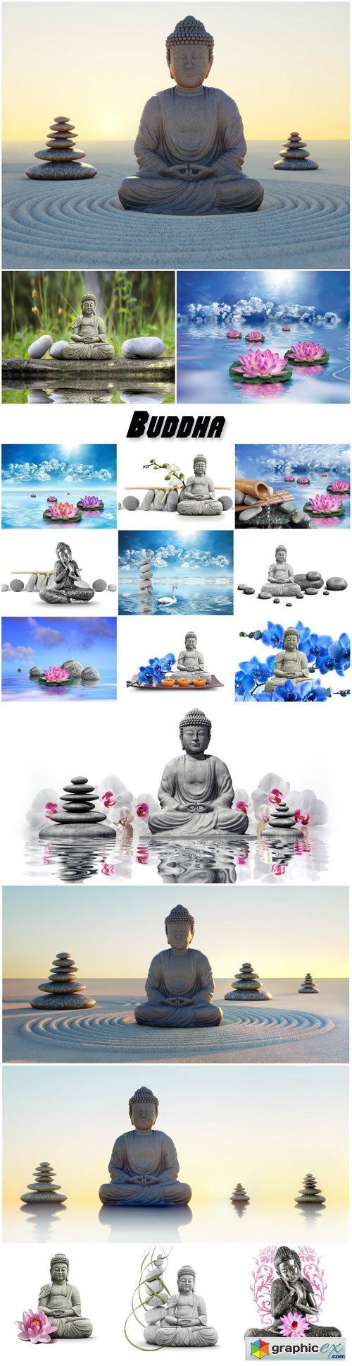 Buddha, spa background with stones and lotus