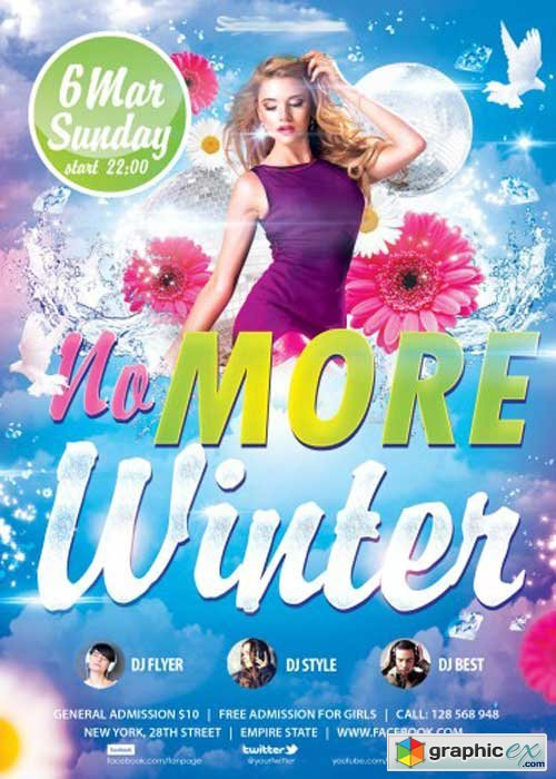 No More Winter party PSD Flyer Template+ Facebook Cover
