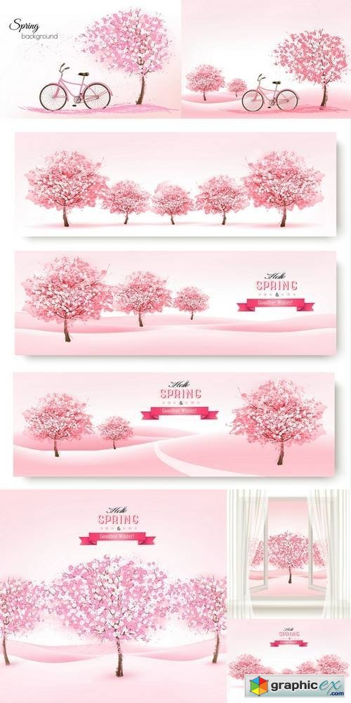 Spring Background with a Blossoming Tree