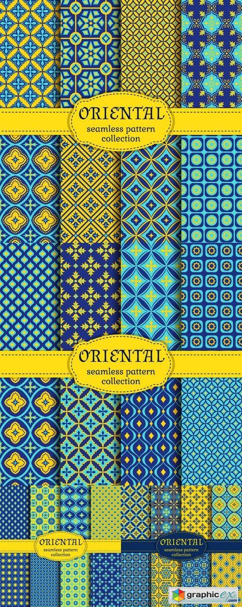 Eastern Seamless Patterns - Set in Blue, Indigo and Yellow Colors