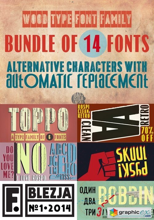 Wood Type Font Family Bundle of 14 Fonts