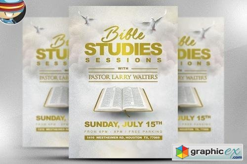 Bible Study Flyer Template Free Download Vector Stock Image
