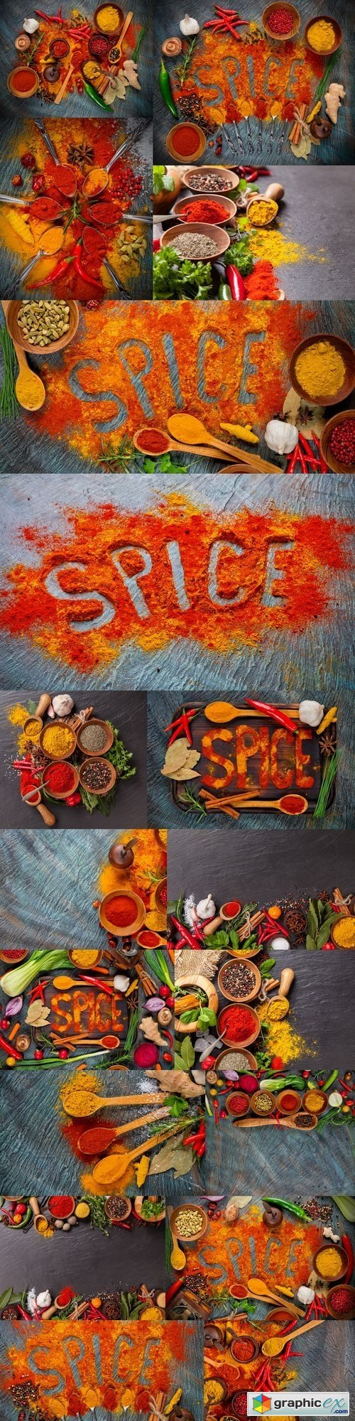 Coulinary concept with lettering spice