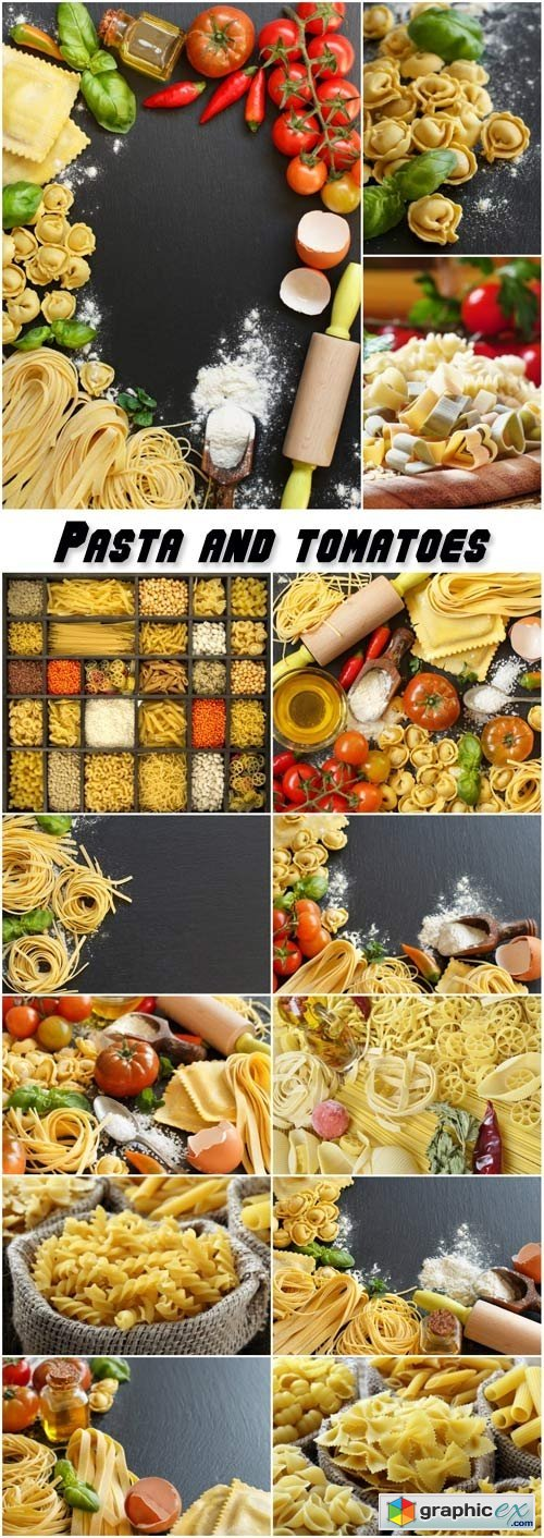 Pasta and tomatoes, flour products