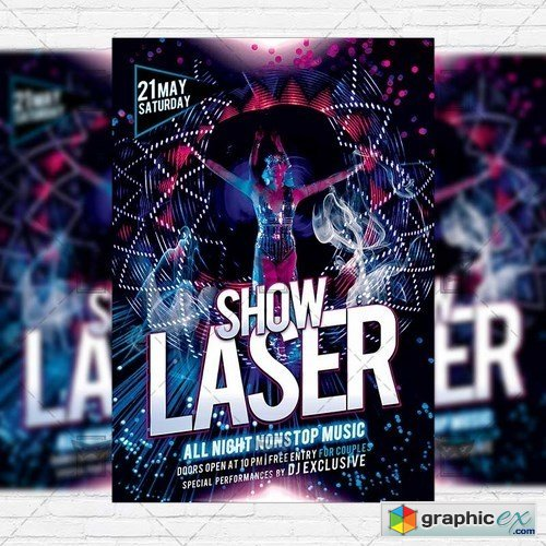 Laser Show � Premium Flyer Template + Facebook Cover