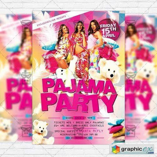 Pajama Party � Premium Flyer Template + Facebook Cover