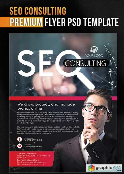 SEO Consulting Flyer PSD Template + Facebook Cover