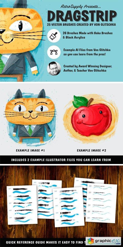 Dragstrip | Illustrator Brush Kit » Free Download Vector