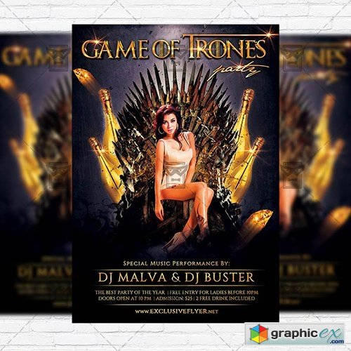 Game of Thrones Party – Premium Flyer Template + Instagram Size Flyer