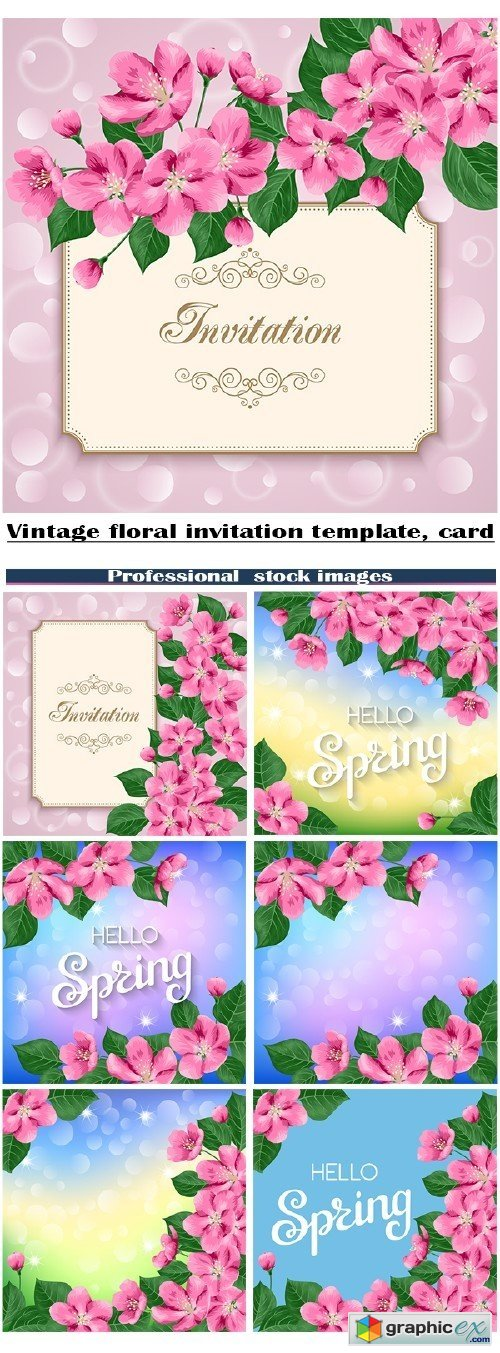 Clipart vintage floral invitation template, card