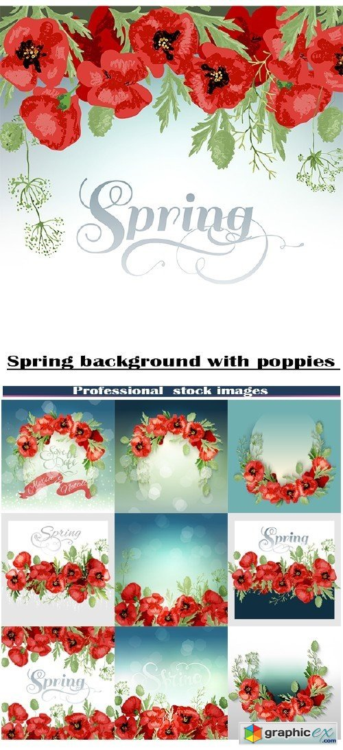 Spring backgrounds with poppies