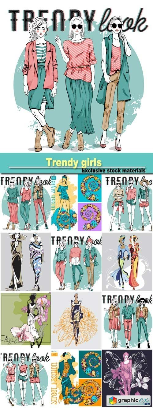 Vector set with trendy girls