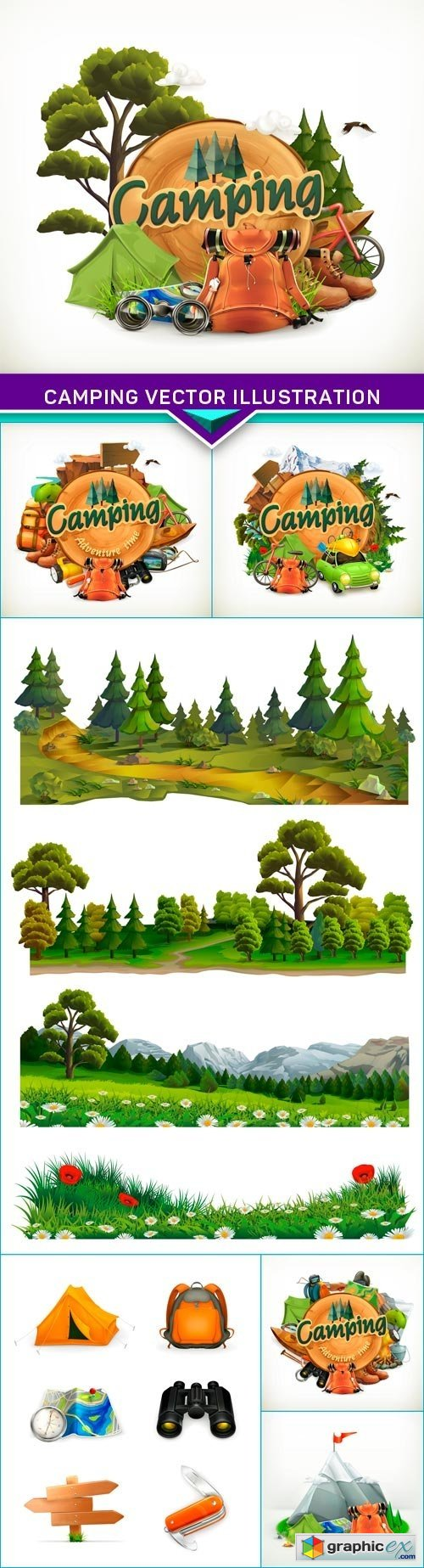 Camping vector illustration 7x EPS