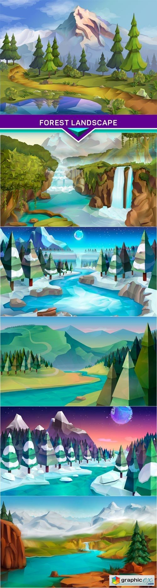 Forest landscape, nature vector background 6x EPS