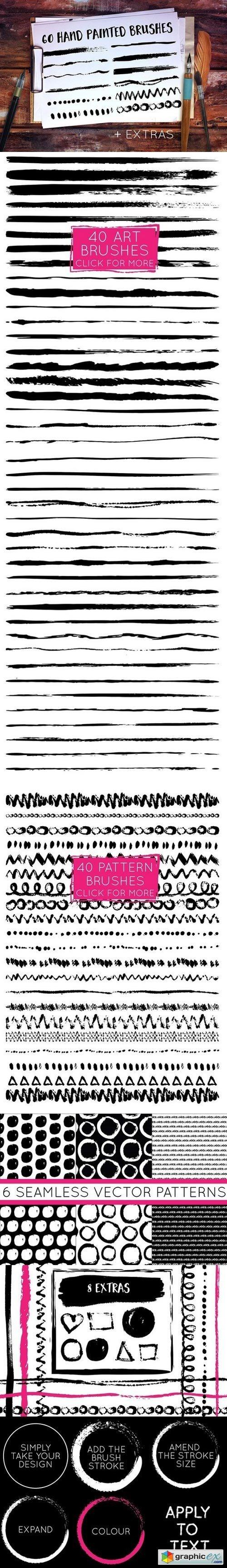 Handpainted Brush Stroke Brushes » Free Download Vector