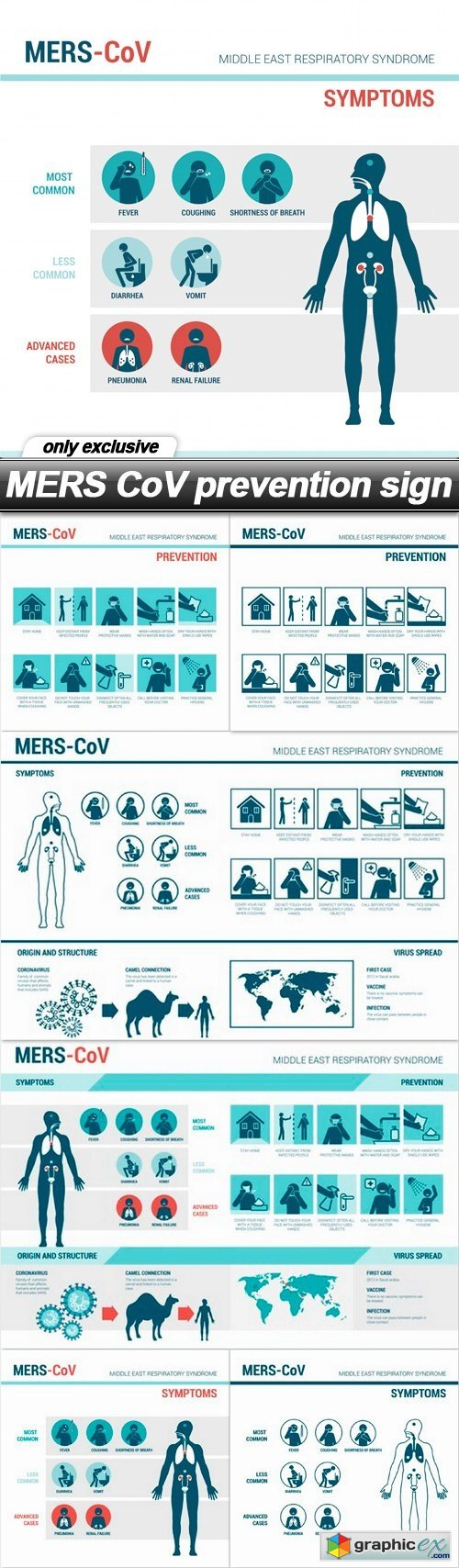 MERS CoV prevention sign - 6 EPS