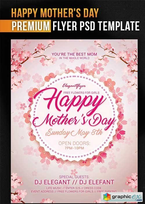 mothers day v8 psd flyer template free download vector stock image