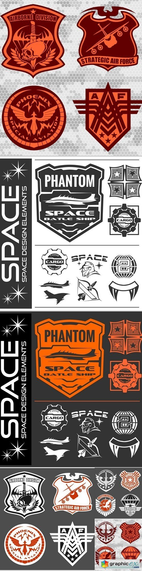 Set of space astronaut badges, emblems, labels