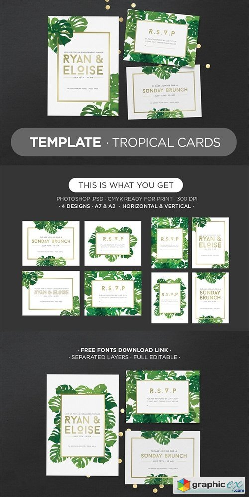 Template Tropical Cards