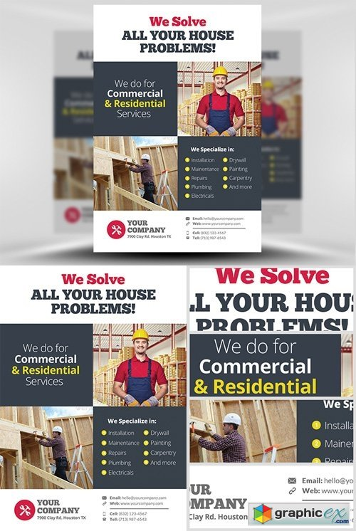 Handyman Flyer Template V  Free Download Vector Stock Image
