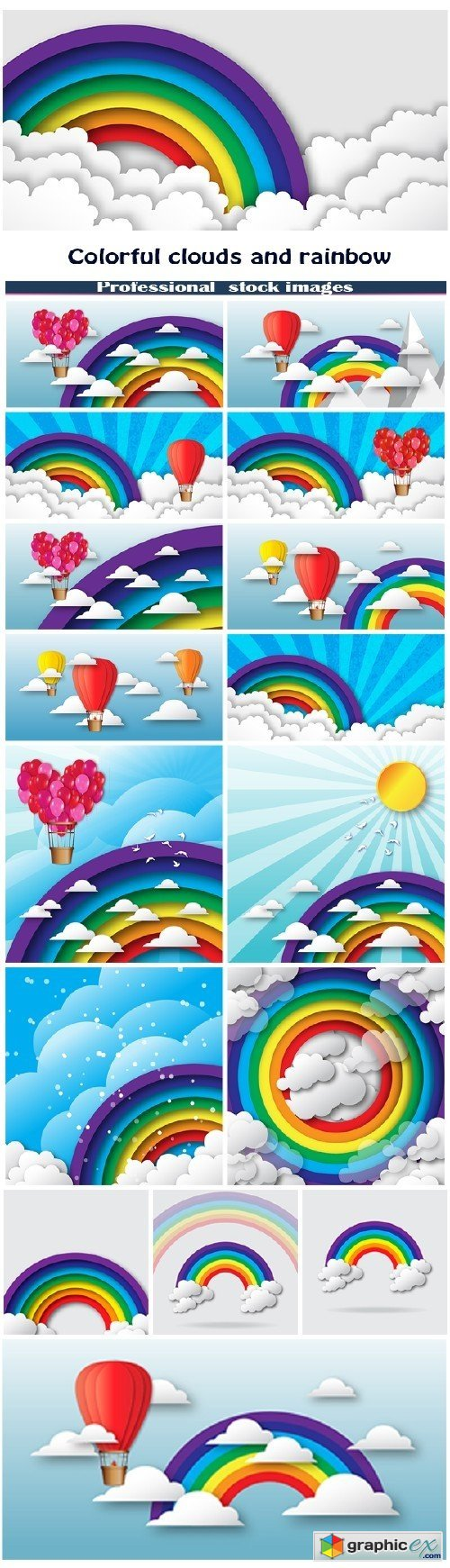 Origami stylized paper colorful clouds and rainbow with blue sky