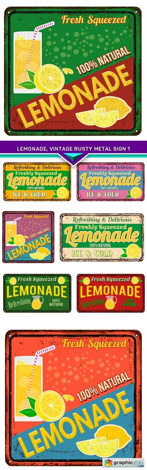 Lemonade, vintage rusty metal sign 1 8x EPS