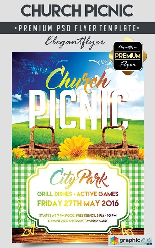 Picnic Flyer Template Free from graphicex.com