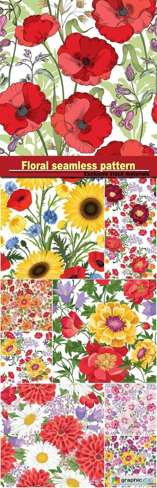 Floral seamless pattern, flourish tiled ornamental texture with flowers, spring floral garden