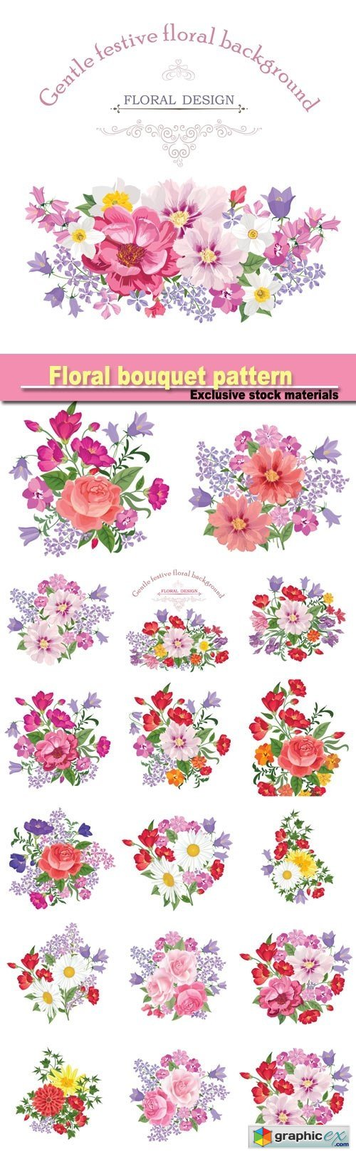 Floral bouquet pattern, vintage vector card with flowers