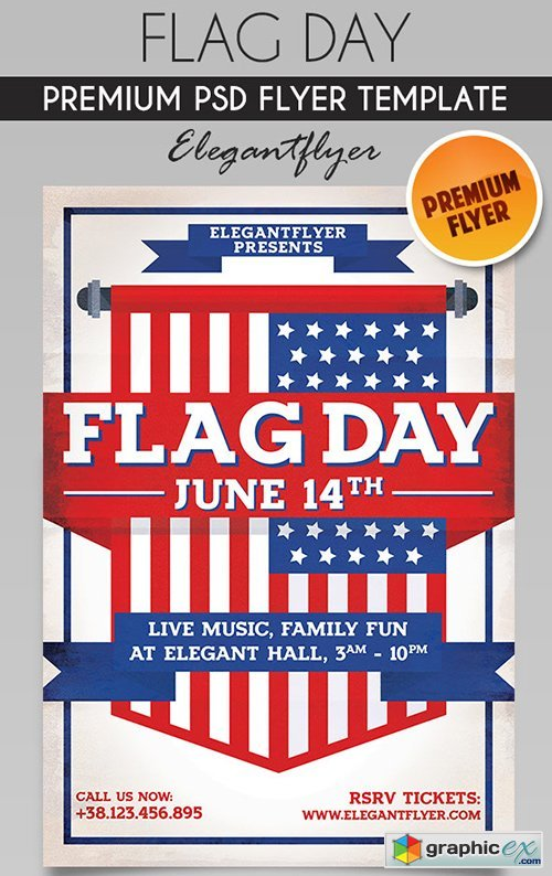 Flag Day  Flyer PSD Template
