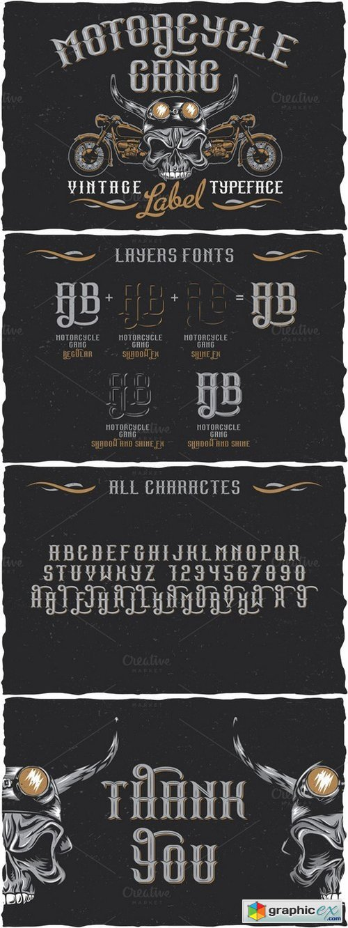 Motorcycle Gang label font